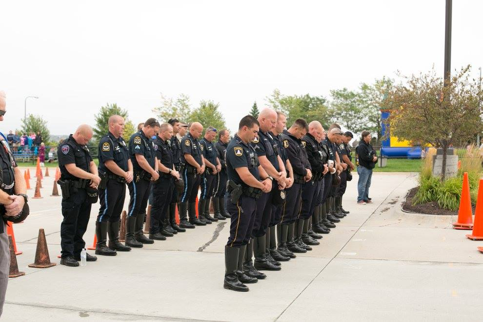 Officers praying